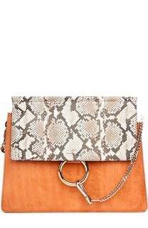 Замшевая сумка Faye с отделкой из кожи питона Chloé