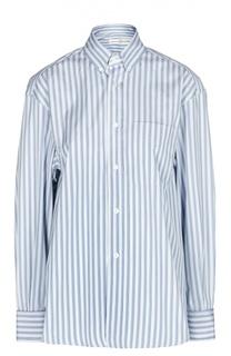 Свободная блуза в полоску с накладным карманом Golden Goose