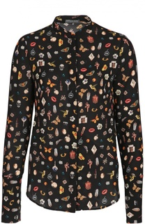 Шелковая блуза с воротником-стойкой и контрастным принтом Alexander McQueen