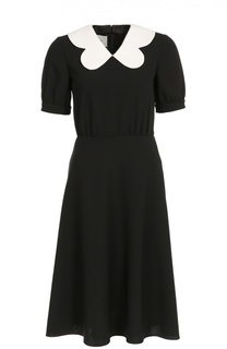 Приталенное платье-миди с контрастным воротником Valentino