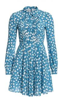 Приталенное платье-рубашка с ярким принтом Valentino