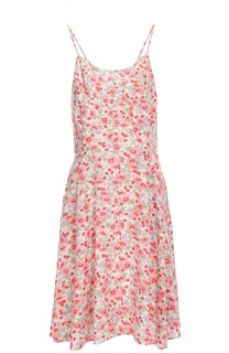 Льняное приталенное мини-платье с цветочным принтом Polo Ralph Lauren