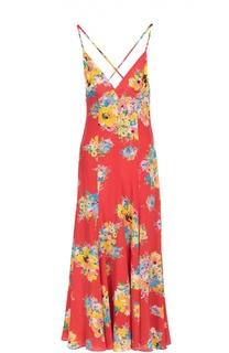 Шелковое платье-макси с открытой спиной и цветочным принтом Polo Ralph Lauren