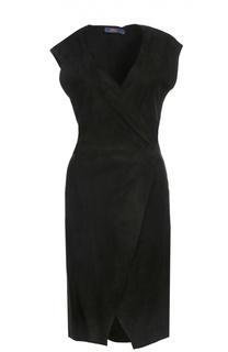 Замшевое приталенное платье с V-образным вырезом Polo Ralph Lauren