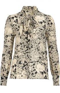Блуза с бантом и контрастным цветочным принтом Saint Laurent