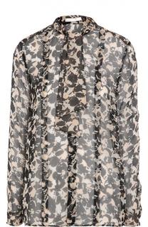 Шелковая полупрозрачная блуза с бантом BOSS