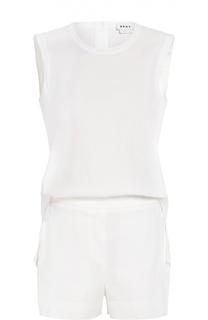 Приталенный льняной мини-комбинезон DKNY