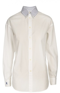 Хлопковая блуза прямого кроя с контрастным воротником Polo Ralph Lauren