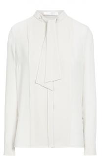 Блуза прямого кроя с планкой и воротником-аскот BOSS