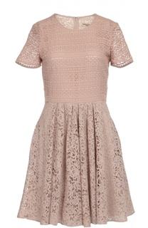Приталенное кружевное мини-платье с круглым вырезом Burberry