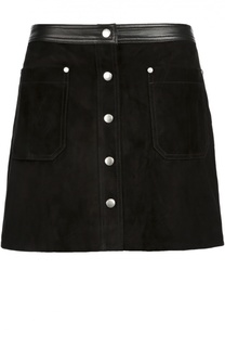 Замшевая мини-юбка с кожаной отделкой и карманами Rag&Bone Rag&Bone