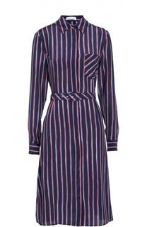 Шелковое приталенное платье-рубашка в контрастную полоску Altuzarra