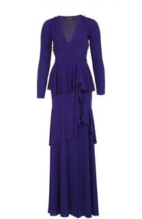 Приталенное платье в пол с высоким разрезом Roberto Cavalli