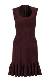 Приталенное платье с круглым вырезом и оборкой Alaia