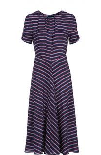 Шелковое платье-миди в контрастную полоску с укороченным рукавом Altuzarra