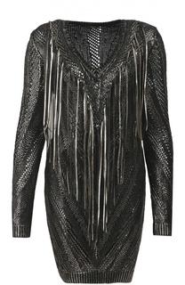 Вязаное облегающее платье с металлизированной отделкой Roberto Cavalli