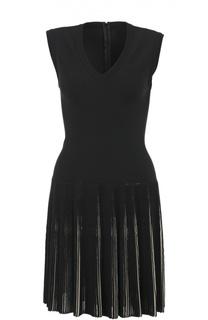 Приталенное платье с плиссированной юбкой и V-образным вырезом Alaia