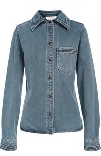 Джинсовая блуза прямого кроя с накладным карманом Chloé