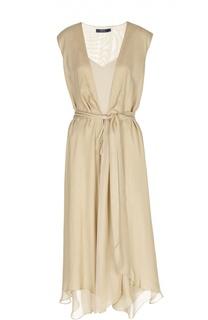 Шелковое асимметричное платье с поясом Polo Ralph Lauren