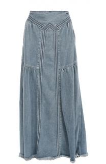 Джинсовая юбка-макси с карманами и бахромой Chloé