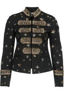 Приталенный жакет с воротником-стойкой, вышивкой и бахромой Valentino