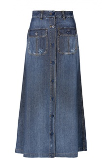 Джинсовая юбка-макси на пуговицах с накладными карманами Two Women In The World