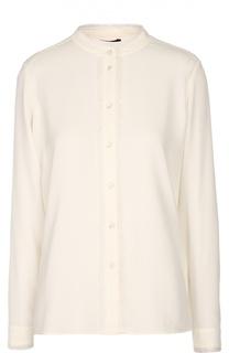 Шелковая блуза с воротником-стойкой и бахромой Escada