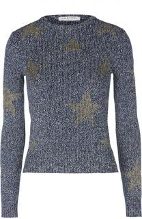 Приталенный хлопковый пуловер с принтом в виде звезд Valentino