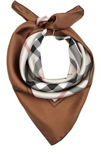 Шелковый платок с клетчатым принтом Horseferry Check и логотипом бренда Burberry