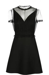 Приталенное мини-платье с полупрозрачной вставкой Valentino