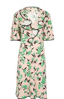 Платье прямого кроя с воланами и цветочным принтом Marni