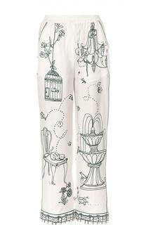 Шелковые брюки в пижамном стиле с контрастным принтом Dolce & Gabbana