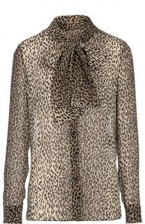 Шелковая блуза с воротником-аскот и леопардовым принтом Saint Laurent