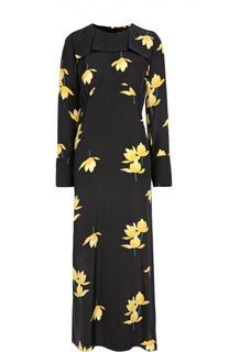 Шелковое платье-макси с контрастным принтом Marni