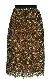 Кружевная юбка-миди с контрастной подкладкой self-portrait