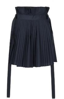 Плиссированная юбка-шорты с декоративными лентами Sacai