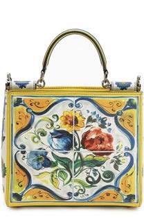 Кожаная сумка-тоут Sicily с принтом Dolce & Gabbana