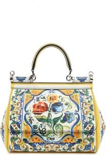 Сумка Sicily small из кожи с принтом Dolce & Gabbana