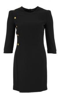 Приталенное мини-платье с укороченным рукавом и декоративной отделкой Alexander McQueen