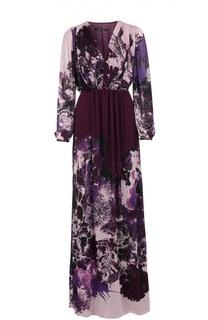 Приталенное платье в пол с V-образным вырезом Roberto Cavalli
