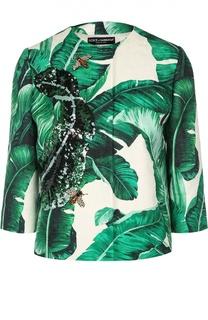 Жакет с укороченным рукавом, цветочным принтом и вышивкой Dolce & Gabbana