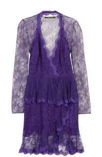 Кружевное полупрозрачное мини-платье Roberto Cavalli