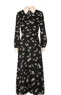 Приталенное платье-рубашка с контрастными принтом и отделкой Saint Laurent