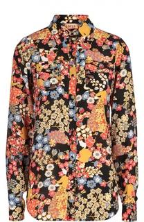 Шелковая блуза с контрастным принтом и накладными карманами No. 21