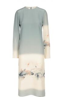 Шелковое платье прямого кроя с принтом Valentino