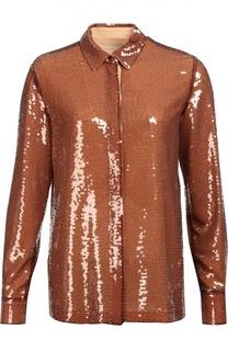 Шелковая блуза прямого кроя с пайетками Emilio Pucci