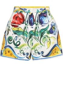 Мини-шорты с ярким принтом и завышенной талией Dolce & Gabbana