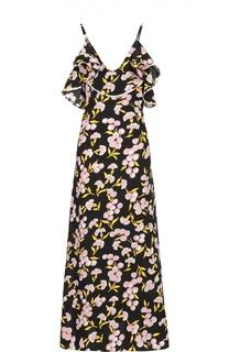 Шелковое платье-макси на бретельках с цветочным принтом Marni