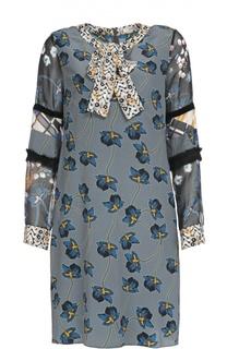 Шелковое платье с цветочным принтом и воротником-аскот Dorothee Schumacher