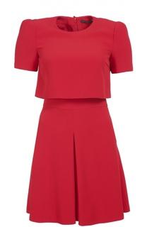 Приталенное мини-платье с коротким рукавом и круглым вырезом Alexander McQueen